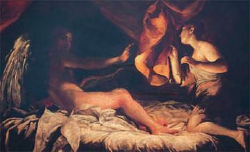 Η Ψυχή επιχειρεί να δει τον νυχτερινό της σύντροφο. Giuseppe Maria Crespi, 1807. Galleria degli Uffizi, Φλωρεντία.