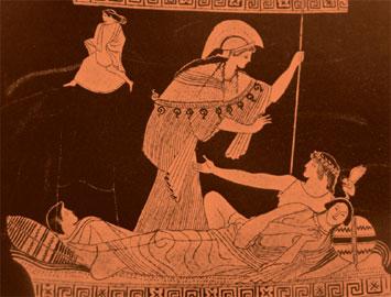 Ενώ η Αριάδνη κοιμάται, η ψυχή της ταξιδεύει. Αττική ερυθρόμορφη λήκυθος από τον Τάραντα. Σχέδιο. 470 π.Χ. Μουσείο Τάραντα.