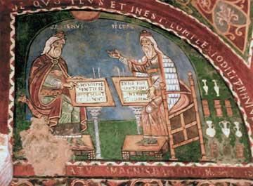 Γαληνός και Ιπποκράτης σε τοιχογραφία της κρύπτης του αγίου Magnus (1237). Καθεδρικός Ναός της Santa Maria. Lazio, Ιταλία.