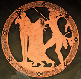 Ο Αίαντας αποσπά με τη βία την Κασσάνδρα από το Παλλάδιο. Ερυθρόμορφη κύλικα, π. 440-430 π.Χ. Μουσείο Λούβρου, Παρίσι.