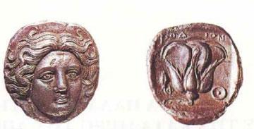 Νόμισμα της Ρόδου με παράσταση της κεφαλής του θεού Ήλιου, προστάτη της πόλης, και με το έμβλημά της, το ρόδον.