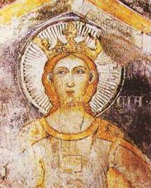 Αγία Λουκία, τοιχογραφία δυτικοευρωπαϊκής τάσης του 14ου αιώνα από την Παναγία του Κάστρου.