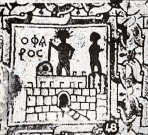 Ψηφιδωτό. Κυρήνη, 6ος αι. μ.Χ. Άγαλμα με ακτινωτό στεφάνι και ξίφος (Κολοσσός) έχει στηθεί πάνω στον Φάρο (της Αλεξάνδρειας).