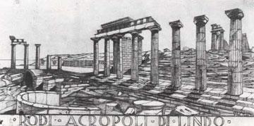 Πρόταση αναστήλωσης της ελληνιστικής Στοάς και του ναού της Λινδίας Αθηνάς από τον Paolini, Memorie II, Rhodos 1938, πίν. XIV
