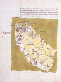 Σελίδα από το χειρόγραφο του Buondelmonti με το χάρτη της Ρόδου (15ος-16ος αι., Γεννάδειος Βιβλιοθήκη).