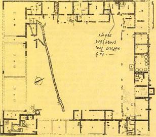 Σχέδιο όπου σημειώνεται το σημείο που βρέθηκε η επιγραφή.