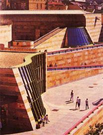 Η αρχιτεκτονική των μουσείων εκφράζει το πνεύμα των καιρών. Nene Staatsgalerie, Στουτγάρδη (αρχιτέκτονας: James Stirling).