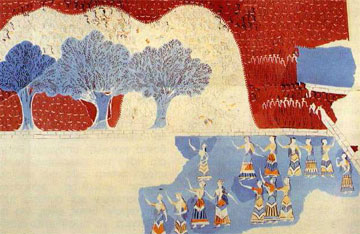 Μικρογραφική τοιχογραφία από το ανάκτορο της Κνωσού με παράσταση ομαδικής θρησκευτικής γιορτής. ΜΜΙΙΙ (16ος αι. π.Χ.).