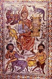 Ο «χριστιανός Ορφέας» σε ψηφιδωτό δαπέδου του 6ου αι. από την Ιερουσαλήμ (Κωνσταντινούπολη, Αρχαιολογικό Μουσείο).