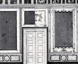 Λεπτομέρεια της εσωτερικής διακόσμησης των ανακτόρων. Υδατογραφία (Αρχείο Gärtner, Μουσείο Αρχιτεκτονικής, Πολυτεχνείο Μονάχου).