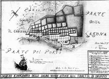 Νέες αλυκές στο λιμάνι Δρέπανο σχεδιασμένες από τον Spiridion Morazzo το 1740.