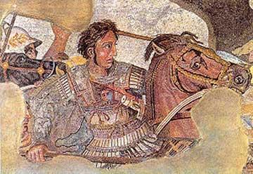Ο Μέγας Αλέξανδρος. Ψηφιδωτό της Πομπηίας, Αρχαιολογικό Μουσείο Νεαπόλεως.