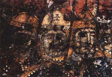 Λεπτομέρεια προσώπων των στρατιωτών της σκηνής του Λίθου.