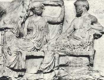 Ο Δίας και η Ήρα στην ανατολική ζωφόρο του Παρθενώνα.