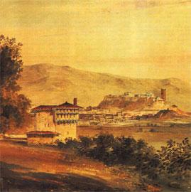 Το κονάκι του Χασεκή. Υδατογραφία του Gandy, 1818.