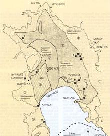 Χάρτης επιφανειακών αποθέσεων στην αργολική πεδιάδα.