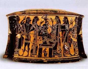 Η γέννηση της Αθηνάς. Αττικό μελανόμορφο τριποδικό εξάλειπτρο, 570-565 π.Χ. Λούβρο.