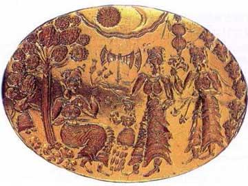 Ελλειψοειδής σφενδόνη χρυσού δαχτυλιδιού με λατρευτική παράσταση. Μυκήνες, Θησαυρός Δροσινού.