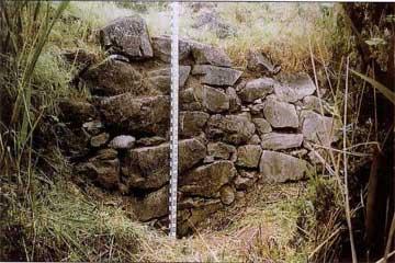 Κυκλώπειο τείχος παράλληλο με τα αναχώματα του μεγάλου αγωγού της Κωπαίδος.