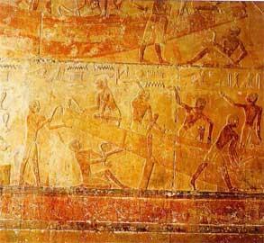 Απόσπασμα από σκηνή ναυπήγησης. Τάφος Ti στη Σακκάρα, 5η Δυναστεία.