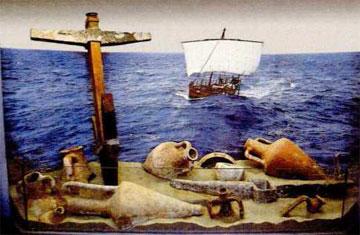 Προθήκη με αμφορείς και άγκυρες από τις ελληνικές αποικίες της Βόρειας Μαύρης Θάλασσας.