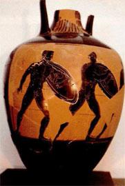 Παναθηναϊκός αμφορέας του 344/3 π.Χ. με παράσταση άφεσης οπλιτοδρομίας και απεικόνιση της ύσπληγος.