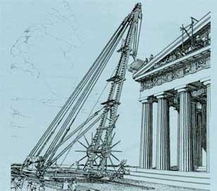 Παρθενών, αναπαράσταση της τοποθέτησης του βάθρου του ακρωτηρίου της ΝΑ γωνίας του κτηρίου με γερανό.