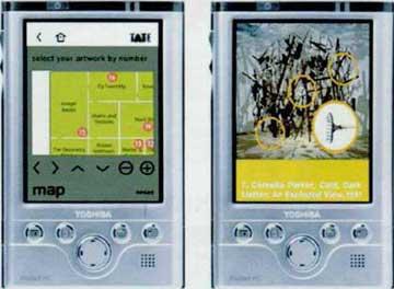 Οθόνες από τον φορητό οδηγό ξενάγησης στις μόνιμες συλλογές της Tate με χρήση πολυμέσων.