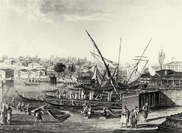 Χαλκογραφία των ναυπηγείων της Κωνσταντινούπολης.