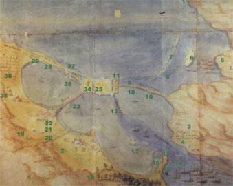 Σχέδιο σε ακουαρέλα του πορθμού της Λευκάδας, όπως αποδόθηκε από άγνωστο καλλιτέχνη.