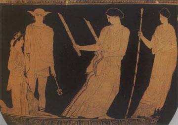 Η επιστροφή της Περσεφόνης στον Επάνω Κόσμο. Στα δεξιά η Δήμητρα περιμένει ήρεμη την κόρη της.