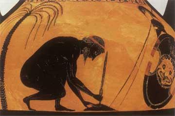 Ο Αίας μπήγει το ξίφος στο έδαφος για να αυτοκτονήσει. Μελανόμορφος αττικός αμφορέας που αποδίδεται στον Εξηκία, περ. 540 π.Χ.