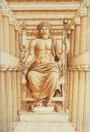 Αναπαράσταση του χρυσελεφάντινου αγάλματος του Ολυμπίου Διός.