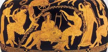 Η Αφροδίτη ξαναδίνει τη νιότη και χαρίζει ομορφιά στον Φάωνα. Λεπτομέρεια από ερυθρόμορφη υδρία, 410 π.Χ.