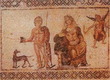 Η Φαίδρα, ο Ιππόλυτος και ο Έρως. Ψηφιδωτό από την