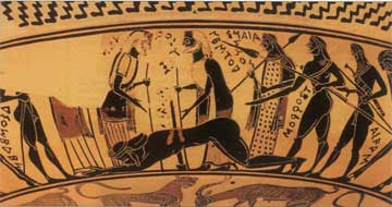 Οι Αχαιοί βρίσκουν τον Αίαντα νεκρό, πεσμένο στο γυμνό ξίφος.