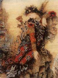 Η Σαπφώ όπως απεικονίστηκε από τον Γκυστάβ Μορώ, 1871 (λεπτομέρεια).