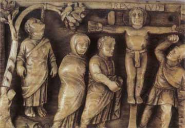 Ο απαγχονισμός του Ιούδα και η Σταύρωση. Πλακίδιο από ελεφαντόδοντο (420-430), Λονδίνο, Βρετανικό Μουσείο.