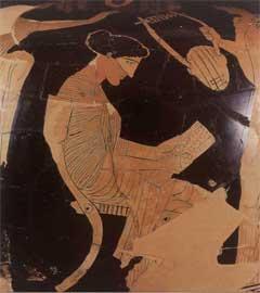 Απεικόνιση της Σαπφούς σε αττική ερυθρόμορφη υδρία (5ος αι. π.Χ.).