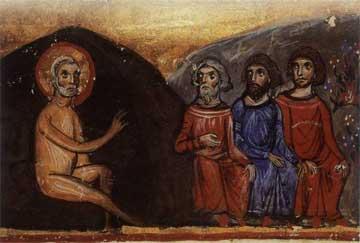 Ο Ιώβ απευθύνει τον λόγο στους τρεις φίλους του. Κώδ. Β 100, 13ος αι., Μονή Μεγίστης Λαύρας, Άγιον Όρος.