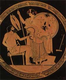 Η Θέτιδα παραλαμβάνει από τον Ήφαιστο τα όπλα που του είχε ζητήσει να κατασκευάσει για το γιο της, τον Αχιλλέα.