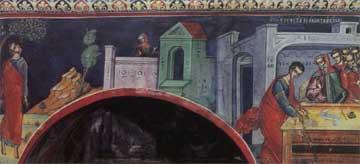 Η σκηνή του Απαγχονισμού. Άγιον Όρος, Μονή Διονυσίου.