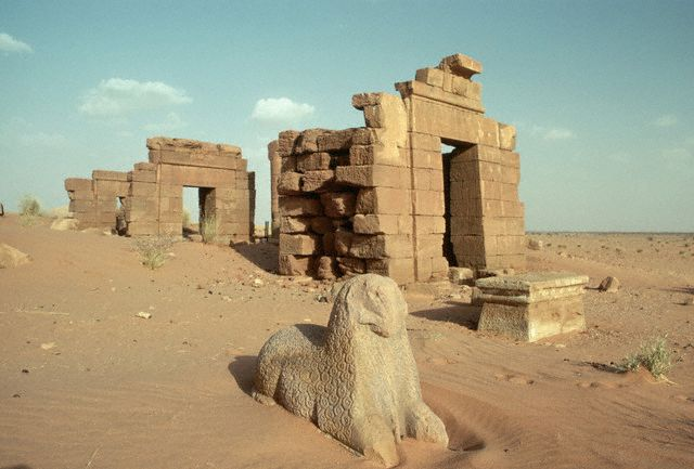 The Amun Temple served as a principle Kushite religious center near Shendi in what is now northern Sudan. ca. 1980 Naqa, Sudan