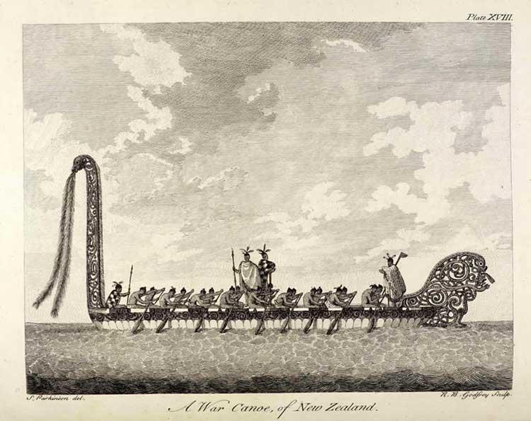 Maori war canoe (waka). Sydney Parkinson, 1769.