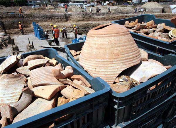 Ancient pots discovered in 2006 at the site of the Marmaray Project, aimed at building a tunnel under the Boshporus straits in Istanbul.