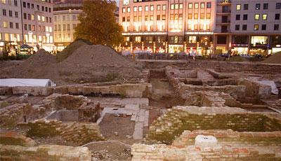 Marienhof excavation looking north to the Schrammerstraße.