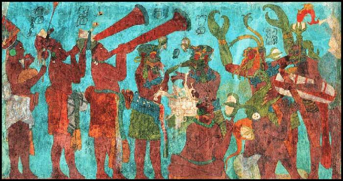 Celebratory Mural in the halls of Bonampak.