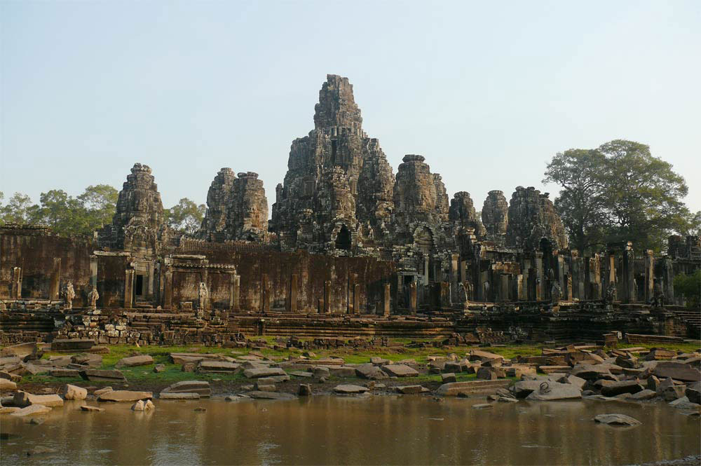 Bayon temple, constructed by Angkorian King Jayavarman VII in the late 12th century.