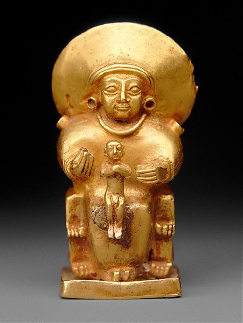 One of the 18 objects is this Hittite gold pendant of a goddess with a child, circa 1400 BCE from Central Anatolia.