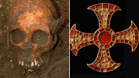 The skull of an Anglo-Saxon girl was found with a jewelled symbol of Christianity.